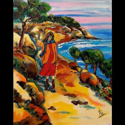 "Tableau ""Littoral provençal"" - Art contemporain - Art figuratif  - Acrylique sur toile, Dimensions: 54 x 65 cm - Christiane Marette"